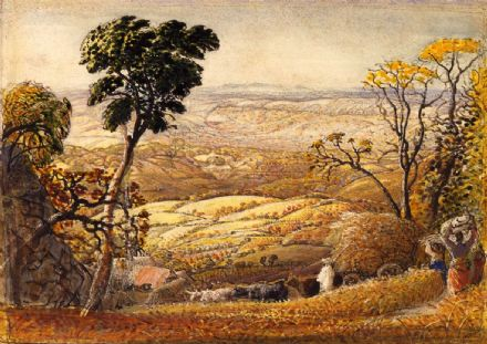 Palmer, Samuel: The Golden Valley. Landscape/Farming Fine Art Print.